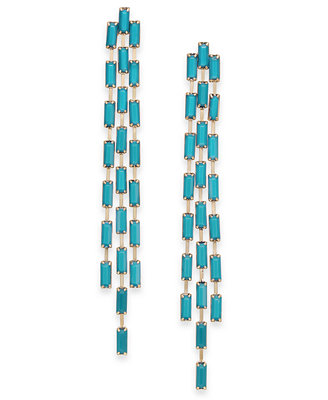 Gold Tone Stone Triple Row Linear Drop Earrings, Created For Macy's by Thalia Sodi