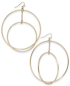 Thalia Sodi Gold-Tone Double-Row Drop Hoop Earrings, Created for Macy's