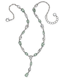 "Charter Club Silver-Tone Crystal Y Necklace, 17"" + 2"" extender, Created for Macy's"