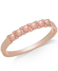 Charter Club Rose Gold-Tone Pavé & Imitation Pearl Bangle Bracelet, Created for Macy's