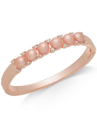 Charter Club Rose Gold-Tone Pavé & Imitation Pearl Bangle Bracelet, Created for Macy's