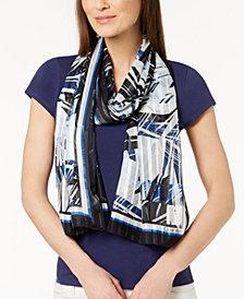 Calvin Klein Tropical Shadow-Stripe Scarf