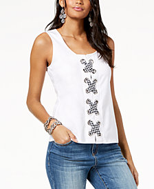 I.N.C. Gingham Lace-Up Tank Top, Created for Macy's