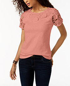 Charter Club Petite Cotton Floral-Appliqué Top, Created for Macy's