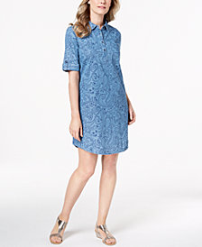Karen Scott Petite Cotton Paisley-Print Dress, Created for Macy's