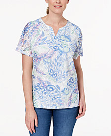 Alfred Dunner Petite Embellished-Neck Lace Top, Created for Macy's