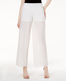 BCX Juniors' Sheer Wide-Leg Soft Pants