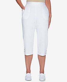 Alfred Dunner Turks & Caicos Lattice-Detail Capri Pants