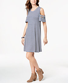 Style & Co Printed Cold-Shoulder Dress, Created for Macy's