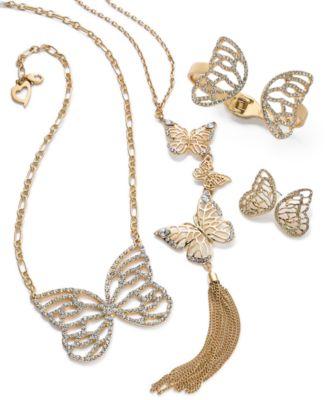 Thalia Sodi GoldTone Pav Butterflies Jewelry Separates Created