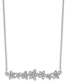 "I.N.C. International Concepts Crystal Cluster Flower Horizontal Bar Pendant Necklace, 16"" + 3"" extender, Created for Macy's"