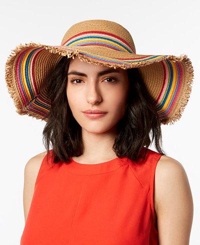 Betsey Johnson Rainbow Fringe Floppy Hat