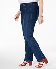 Plus & Petite Plus Easy-Fit Tummy-Control Straight-Leg Jeans, Created for Macy's