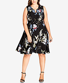 City Chic Trendy Plus Size Printed Fit & Flare Dress