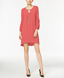 NY Collection Petite High-Low Keyhole Shift Dress with Necklace