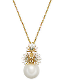 "kate spade new york Gold-Tone Crystal & Imitation Pearl Flower Pendant Necklace, 17"" + 3"" extender"
