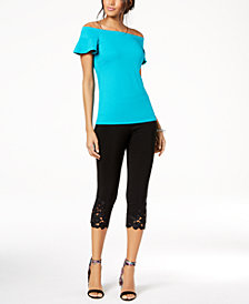 I.N.C. Off-The-Shoulder Top & Lace-Trim Pants, Created for Macy's