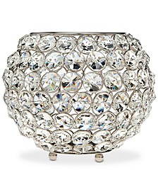 "Lighting by Design Glam 8"" Nickel-Plated Ball Crystal Tealight Holder"