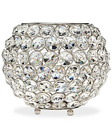 "Godinger Lighting by Design Glam 8"" Nickel-Plated Ball Crystal Tealight Holder"