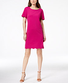 Monteau Petite Scallop-Trim Sheath Dress, Created for Macy's