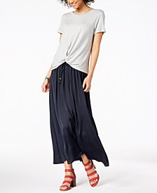 Style & Co High-Low T-Shirt & Tie-Front Maxi Skirt, Created for Macy's
