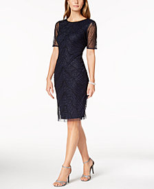 Adrianna Papell Deco-Beaded Sheath Dress