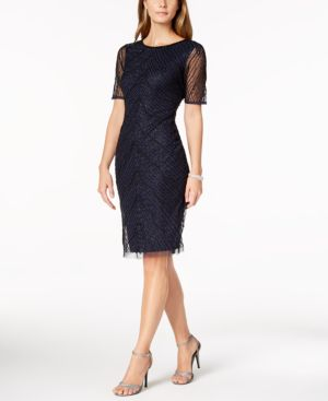 Adrianna Papell Deco-Beaded Sheath Dress 6127116