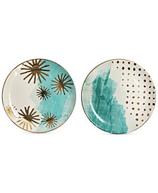 CLOSEOUT! Spring Soiree Aqua/Gold 2-Pc. Salad Plate Set