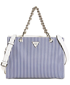 GUESS Sawyer Striped Satchel