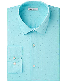 Bar III Men's Classic/Regular Fit Stretch Easy-Care Dot Stripe Dress Shirt, Created for Macy's