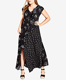 City Chic Trendy Plus Size Mixed-Print Maxi Dress