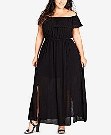 City Chic Trendy Plus Size Off-The-Shoulder Maxi Dress