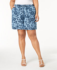 Karen Scott Plus Size Floral-Print Soft Shorts, Created for Macy's