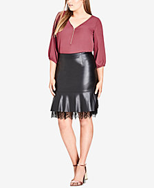 City Chic Trendy Plus Size Faux-Leather Peplum Skirt