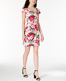 Connected Petite Floral-Print Split-Neck Dress