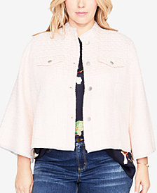 RACHEL Rachel Roy Trendy Plus Size Cropped Tweed Jacket