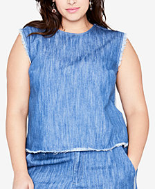 RACHEL Rachel Roy Trendy Plus Size Cotton Chambray Shell