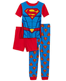 DC Comics Superman 3-Pc. Graphic-Print Pajama Set, Little & Big Boys