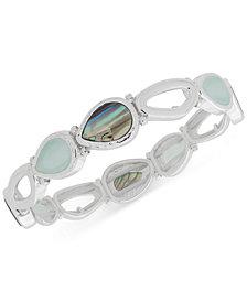 Nine West Silver-Tone Multi-Stone Stretch Bracelet