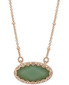 "lonna & lilly Gold-Tone Pavé & Green Stone Pendant Necklace, 16"" + 3"" extender"