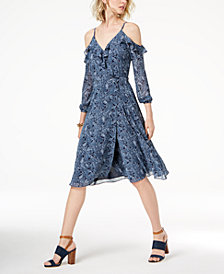 MICHAEL Michael Kors Cold-Shoulder Wrap Dress