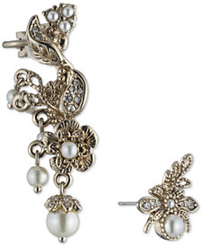 Marchesa Gold-Tone Imitation Pearl & Pavé Mismatch Ear Climber & Stud Earring