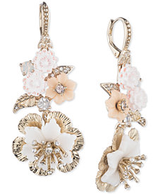 Marchesa Gold-Tone Crystal Flower Drop Earrings