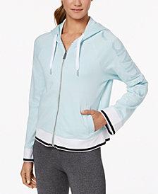 Calvin Klein Performance Flared-Sleeve Logo Cropped Zip Hoodie