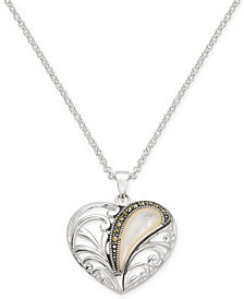"Marcasite & Mother-of-Pearl Openwork Heart 18"" Pendant Necklace in Fine Silver-Plate"
