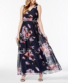 SL Fashions Metallic Floral-Print Surplice Gown