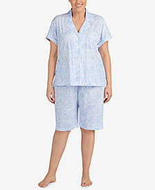 Lauren Ralph Lauren Classic Knits Plus Size Bermuda Cotton Pajama Set