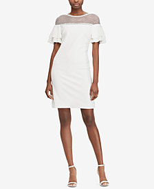 Lauren Ralph Lauren Floral-Lace Flutter-Sleeve Dress