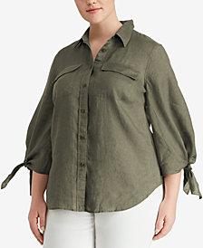 Lauren Ralph Lauren Plus Size 3/4-Sleeve Linen Shirt