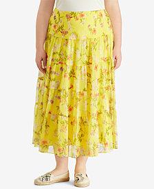 Lauren Ralph Lauren Plus Size A-Line Maxi Skirt